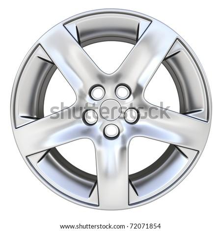 3d car rim - front view - stock photo