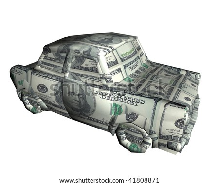 3d car shape money origami - stock photo