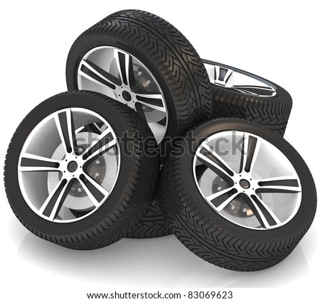 3d car wheels on white background. - stock photo