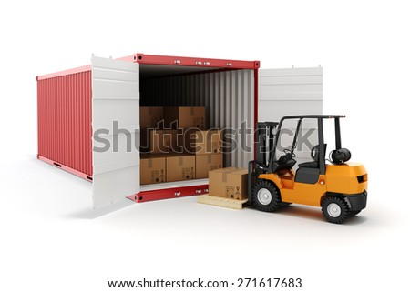 3d cargo container and boxes,  industry transport concept. - stock photo