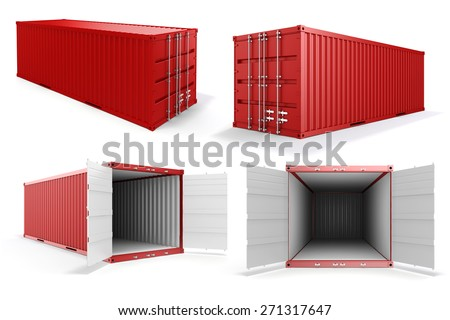 3d cargo container on white background - stock photo