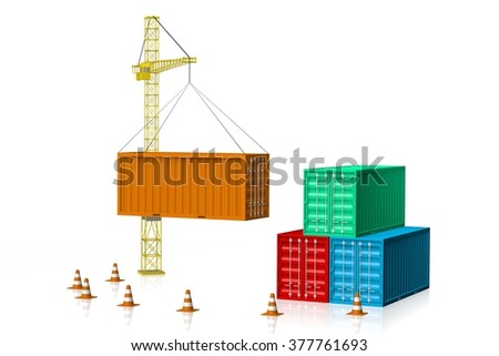 3D cargo containers and a crane - great for topics like freight transportation, port, merchandises, goods, import/export etc. - stock photo