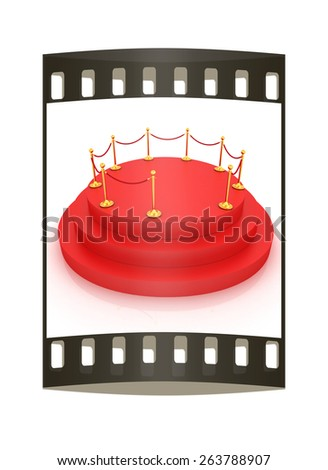 3D carpeting podium with gold handrail. The film strip - stock photo