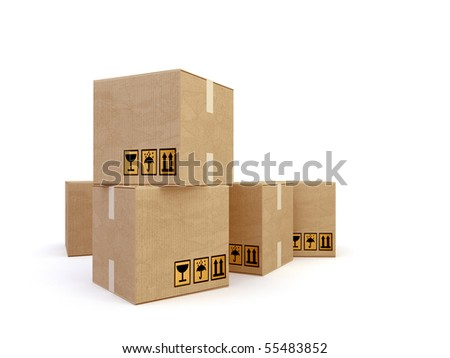 3d  cartons on the white background - stock photo