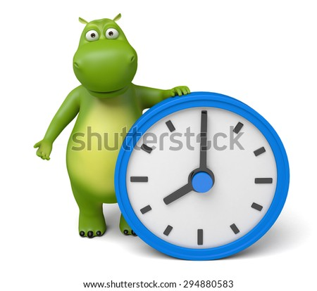 3d cartoon animal with a clock. 3d image. Isolated white background - stock photo