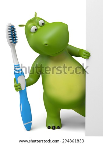 3d cartoon animal with a toothbrush. 3d image. Isolated white background. - stock photo