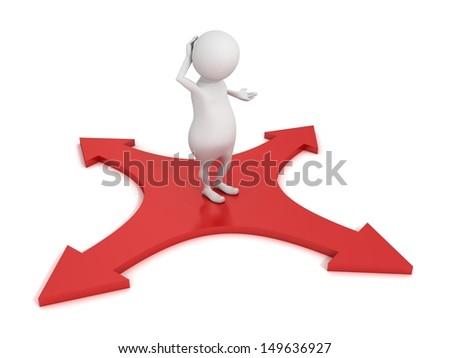 3d cartoon character choosing path red arrows cross - stock photo