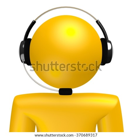 3D cartoon character with a headset - great for topics like call center, customer support etc. - stock photo