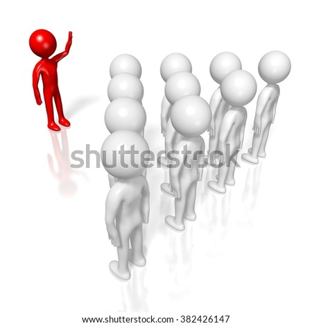 3D cartoon characters - leader, presentation, training, meeting concept. - stock photo