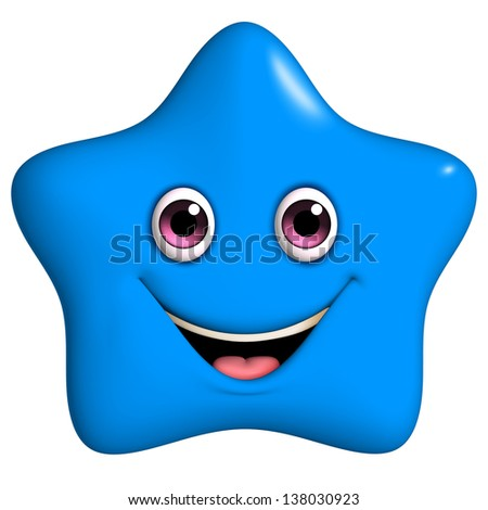 3d cartoon cute blue star - stock photo