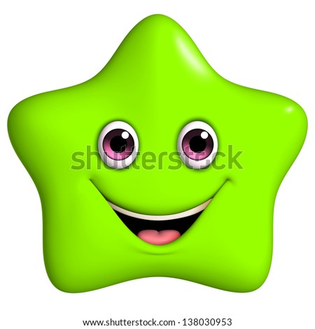 3d cartoon cute green star - stock photo