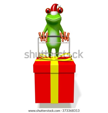 3D cartoon frog and a gift box - Christmas concept. - stock photo