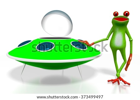 3D cartoon frog and a spaceship - great for topics like cosmos, space exploring, being an astronaut etc. - stock photo
