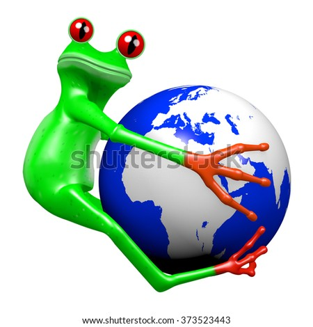 3D cartoon frog and an Earth - great for topics like environment, nature, ecology etc. - stock photo