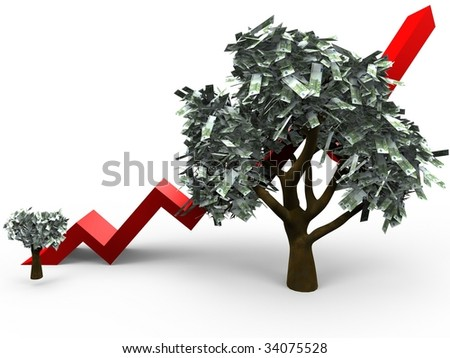 3D cartoon illustrating the growth of a money tree with 100 euro leafs - stock photo