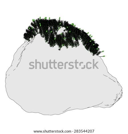 2d cartoon image of moss on stone - stock photo