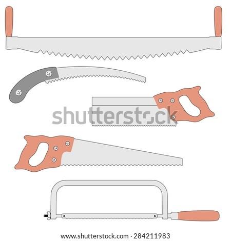 2d cartoon image of saws - stock photo