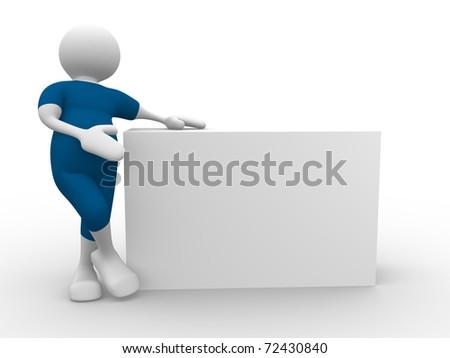 3d cartoon man with blank board - 3d render illustration - stock photo