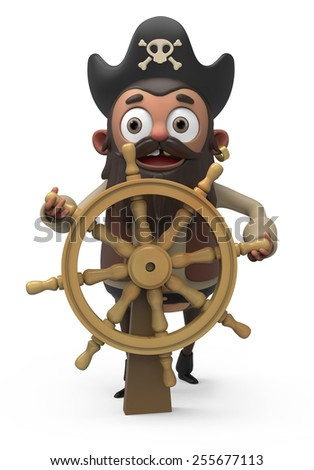 3d cartoon pirate - stock photo