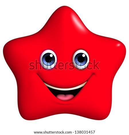 3d cartoon red star - stock photo