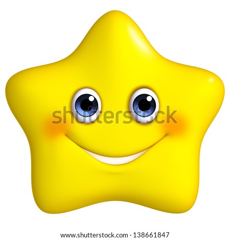 3d cartoon yellow star - stock photo