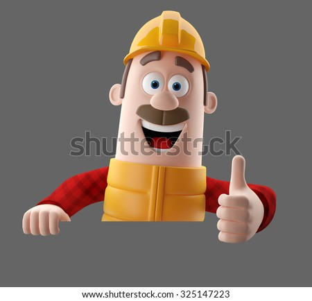 3D cartoonillustration worker character, funny isolated engineer man  - stock photo