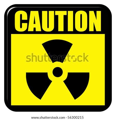 3d caution radioactive sign - stock photo