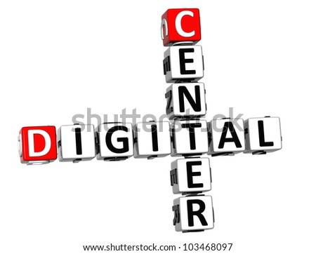 3D Center Digital Crossword on white background - stock photo