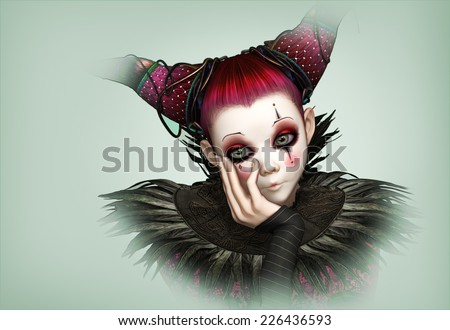 3d CG graphics of a sad looking clown - stock photo