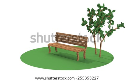 3D-CG image of Bench - stock photo