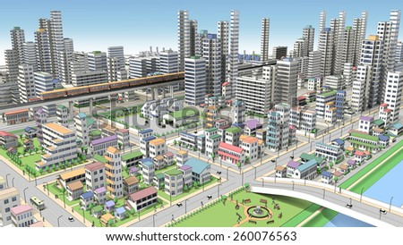 3D-CG image of bird's-eye viewing city - stock photo