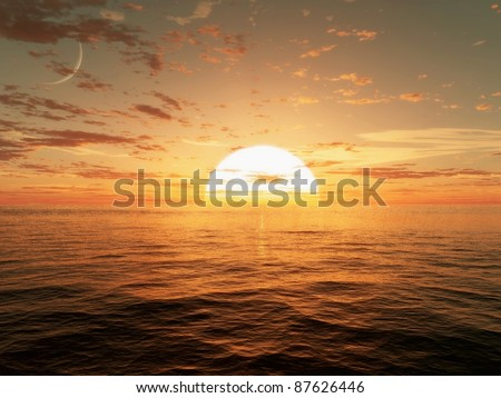 3d CG image of the sun setting over the ocean - stock photo