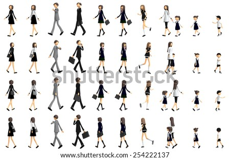 3D CG image of variation of people walking - stock photo