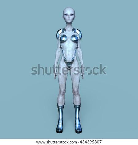 3D CG rendering of a female alien - stock photo