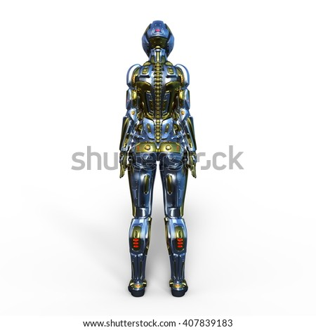3D CG rendering of a female robot - stock photo
