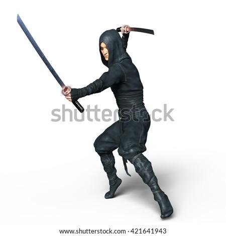 3D CG rendering of a ninja - stock photo
