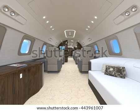 3D CG rendering of a private jet - stock photo