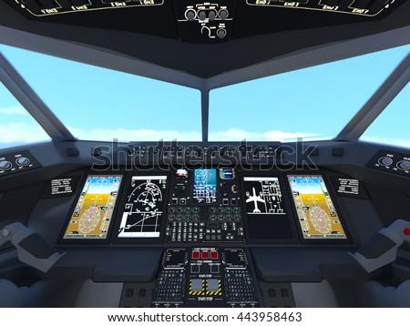 3D CG rendering of cockpit - stock photo