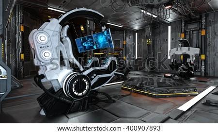 3D CG rendering of control room - stock photo