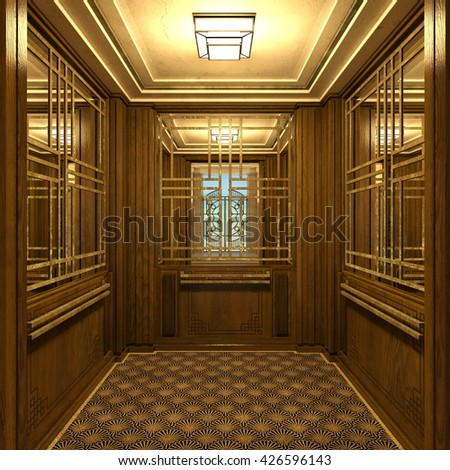 3D CG rendering of entrance hall - stock photo