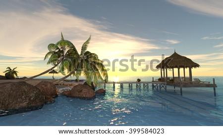 3D CG rendering of island - stock photo