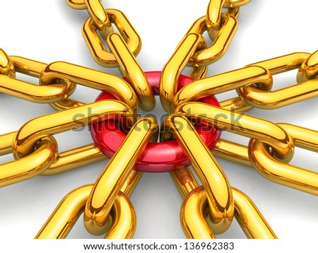 3d chain gold. cross security metal. illustration of a single chain link isolated on white background. Business and Sports concept - stock photo