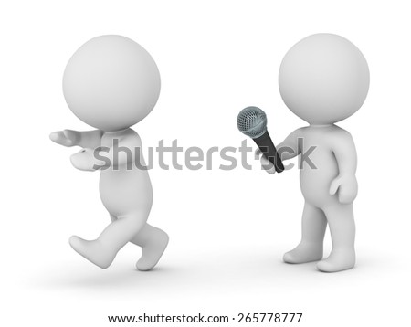 3D Character Afraid of Public Speaking  - stock photo