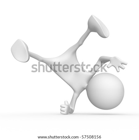 3d character break-dancer. 3d image isolated on white background. - stock photo