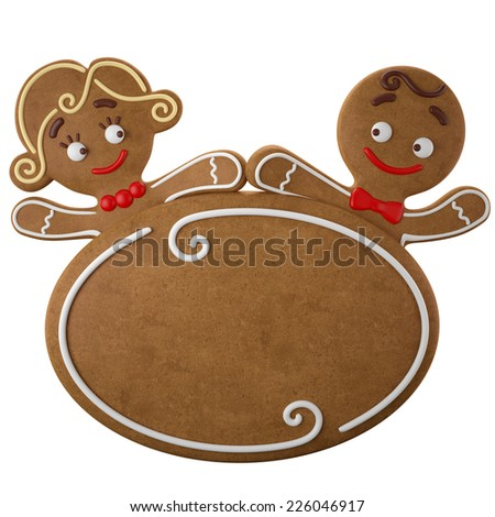 3d character, cheerful gingerbread, Christmas funny decoration, baked sweet candy, banner with frosting, funny fresh addition isolated on white background, sweet couple boy and girl, happy children - stock photo