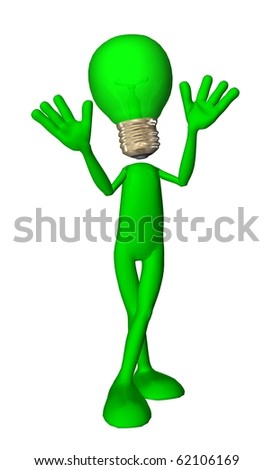 3D character green energy oh came on - stock photo