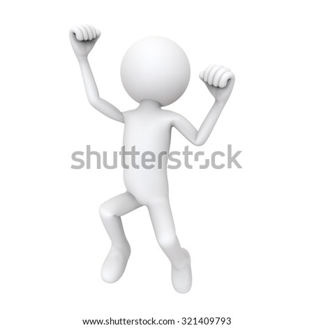 3d character happy jump, isolated on white background - stock photo