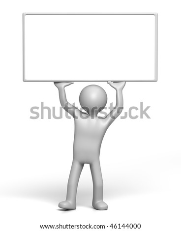 3D Character holding up Sign board (with Clipping Path) - stock photo