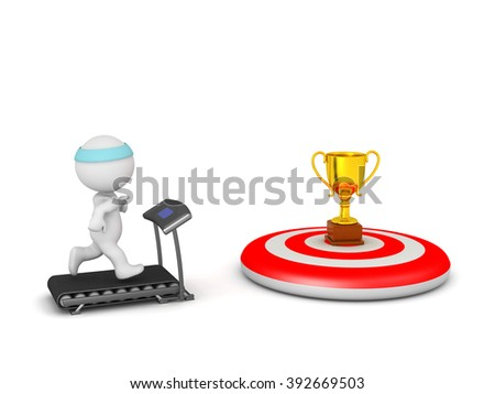 3D character jogging on a treadmill with a golden trophy goal on a red bulls eye target. Isolated on white background. - stock photo