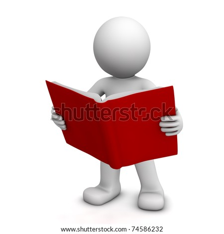 3D character reading book isolated on white - stock photo